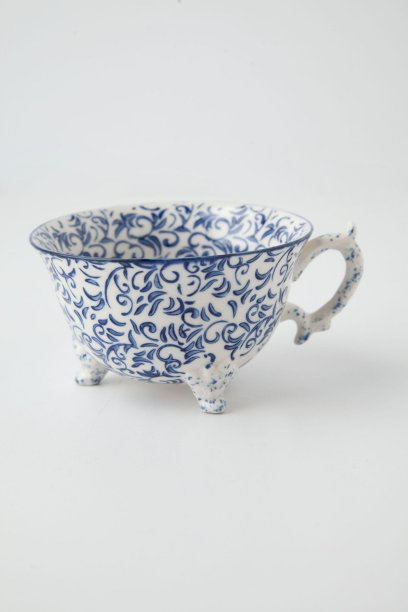 Nottingham Teacup in blue and white, orange and white, green and white. Anthropologie