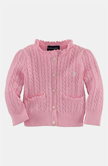 Ralph Lauren Cable Knit Cardigan (Infant) Easter