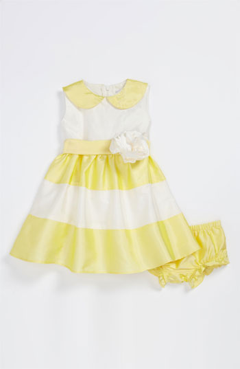 Us Angels Peter Pan Collar Dress (Infant) in yellow and ivory...also available in blue and ivory in 12 months, 18 months and 24 months. Nordstrom