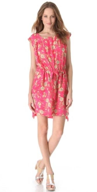 SUNO Drawstring Boxy Tunic Dress in Calico Floral Medium. Shopbop