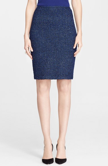 St. John Collection Paper Eyelash Tweed Knit Pencil Skirt in Caviar Multi