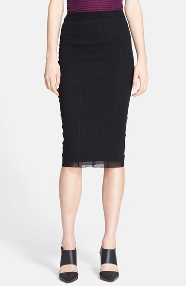 Jean Paul Gaultier Tulle Pencil Skirt in Black