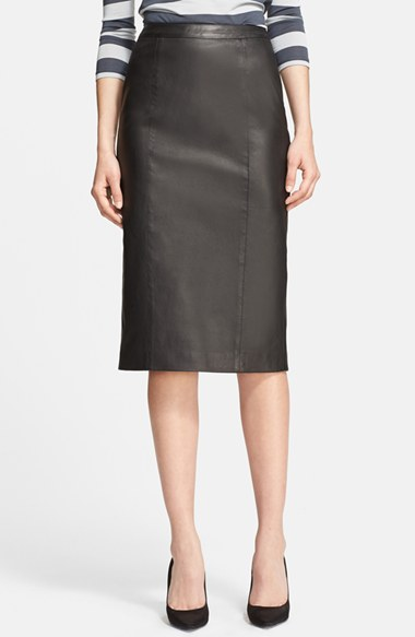 Burberry London Leather Pencil Skirt in Black