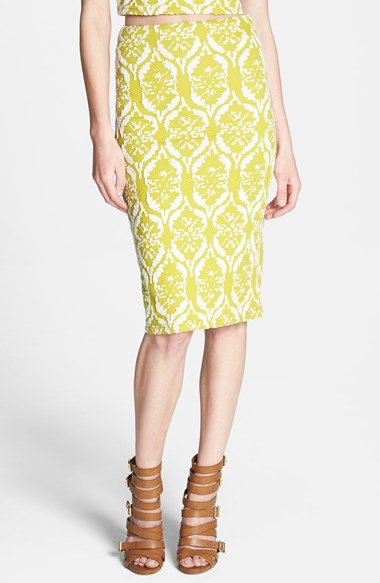 Lucy Paris Textured Tube Skirt in Mustard Yellow and White