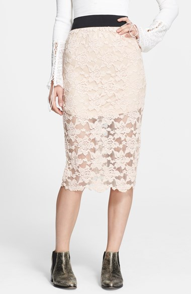 Free People Lace Pencil Skirt in Blush