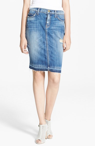 Current/Elliott'The Stiletto' Denim Pencil Skirt with Jodie Destroy with Released Hem