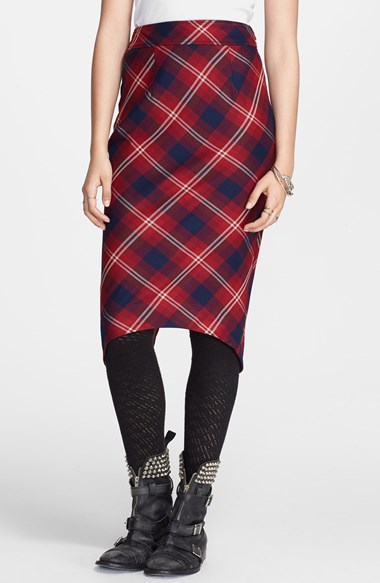 Free People 'Geometric Precision' Plaid Pencil Skirt in Cranberry Combo