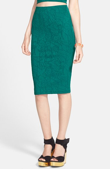 ASTR Textured Geo-Print Pencil Skirt in Teal