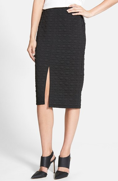 Rules of Etiquette Quilted Pencil Skirt in Black