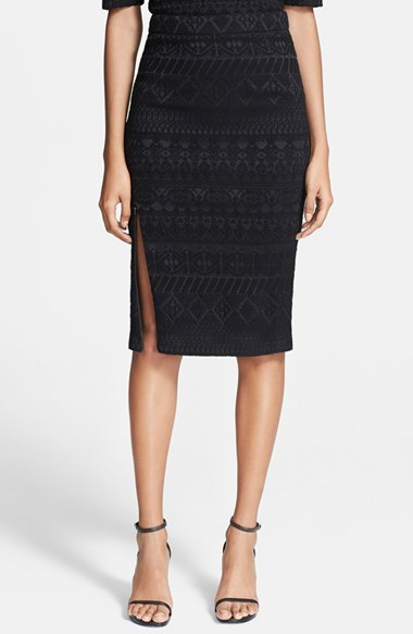 Rebecca Minkoff 'James' Metallic Twill Pencil Skirt in Black