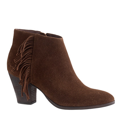 J.Crew LAINE SUEDE FRINGE BOOTS item a9849 in Toasted Brown
