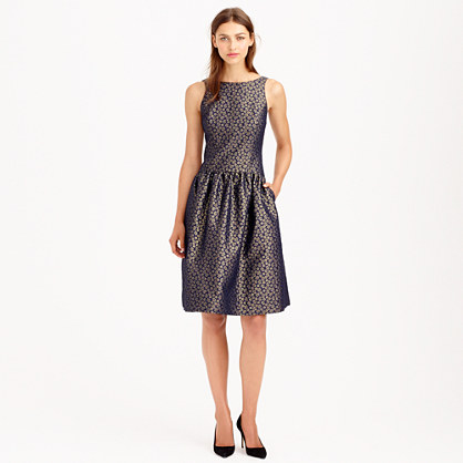J.Crew COLLECTION DAISY JACQUARD DRESS item a9979 in Navy