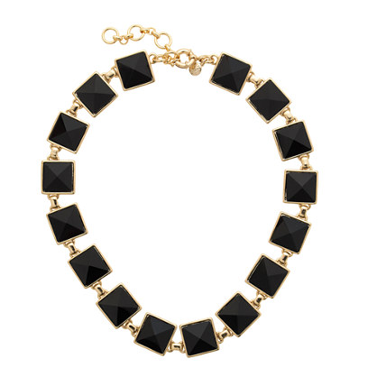 J.Crew PYRAMID STONE NECKLACE item b4968 in Black and Gold