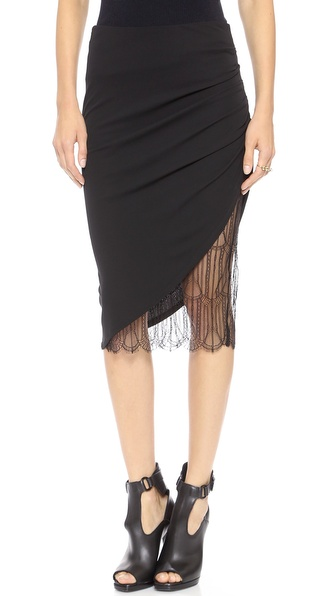 Carmella Natalia Ruched Pencil Skirt in Black