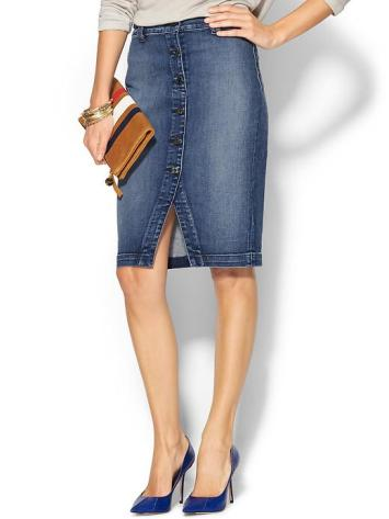 7 FOR ALL MANKIND Button Front Pencil Skirt in Absolute Heritage