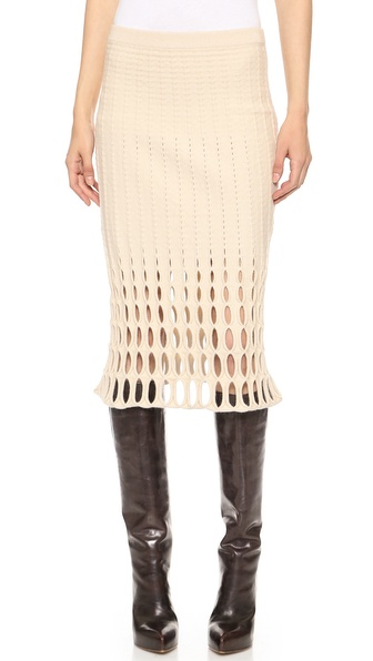 Derek Lam Felted Mesh Cutout Pencil Skirt in Natural