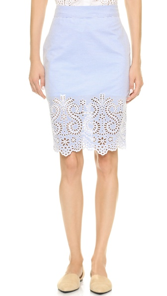 Jenni Kayne Eyelet Pencil Skirt in Pale Blue and White