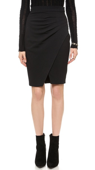 L'AGENCE Pleated Side Skirt in Black