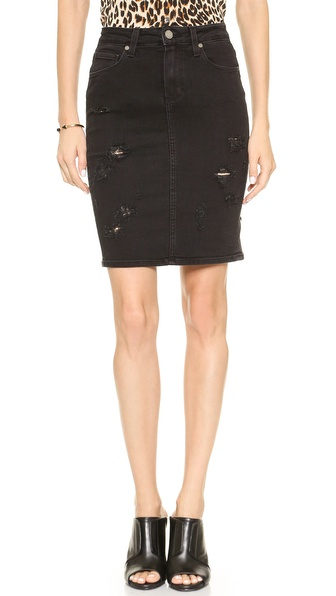 Paige Denim Deirdre Skirt in Ramone Destructed (black)