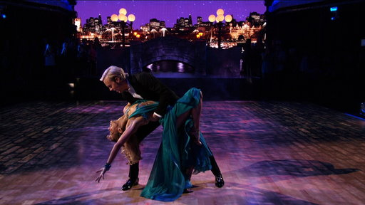 "Singer Riker Lynch and partner Allison Holker dance to Maroon 5's ""Sugar"" during their sophisticated foxtrot!"