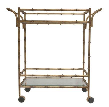 Antique Gold Bamboo Bar Cart by Dessau