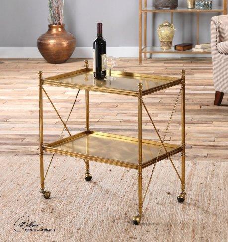 Gold Iron Serving Bar Cart   Rolling Wheels Two Shelf