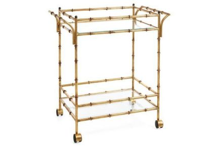 Constantine Bamboo inspired Antique Gold Bar Cart