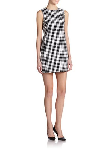 Theory Adraya Barnet Gingham Shift Dress in Black and White