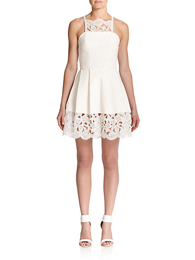 Alexis Cole Lace-Detail Fit & Flare Dress in White Embroidery