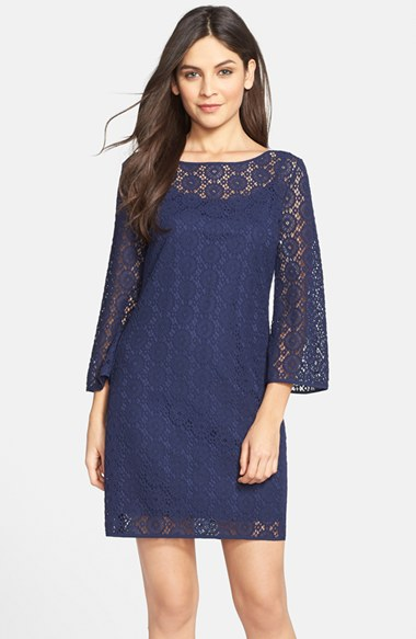 Lilly Pulitzer® 'Topanga' Lace Shift Dress in True Navy Breakers Lace