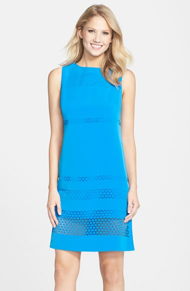 Julia Jordan Lasercut Crepe Sheath Dress in Blue