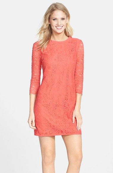 Cynthia Steffe 'Hallie' Lace Shift Dress in Pomegranate