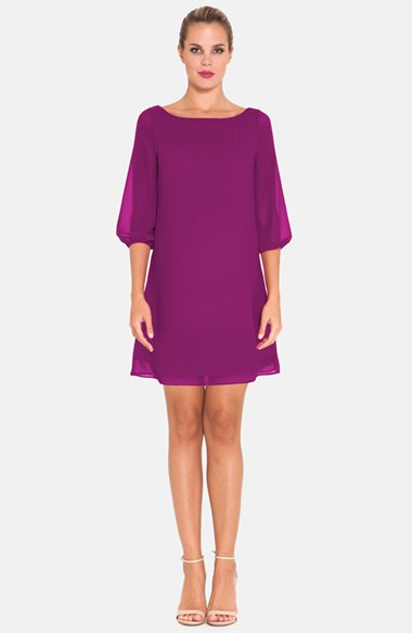 Olian Chiffon Maternity Shift Dress in Boysenberry