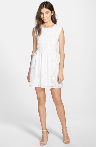 Two by Vince Camuto Floral Lace Fit & Flare Dress in Ultra White