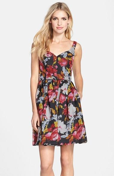 Jill Jill Stuart Floral Print Silk Organza Fit & Flare Dress