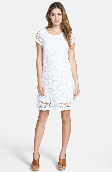 Lucky Brand Lace Shift Dress in Lucky White