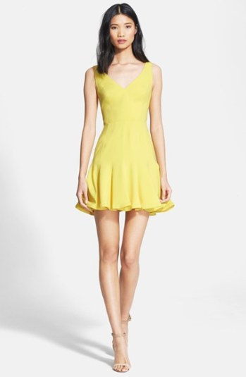 Jay Godfrey 'Spinks' Stretch Crepe Fit & Flare Dress in Yellow