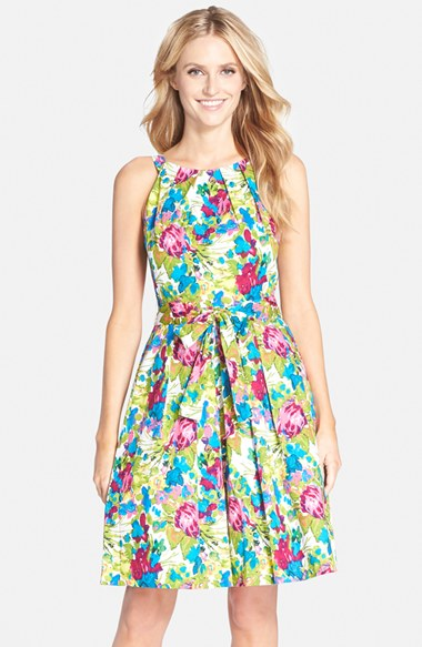 Chetta B Floral Print Cotton Fit & Flare Dress in color: turquoise and olive