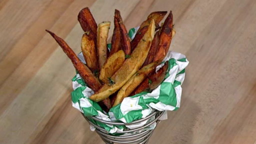 """Learn how to make the delicious sweet pepper grilled cheese & lemon & herb salted fries that chef Carla Hall, Clinton Kelly, Rumer Willis and Val Chmerkovskiy made on """"The Chew"""" on Thursday, May 21, 2015."""