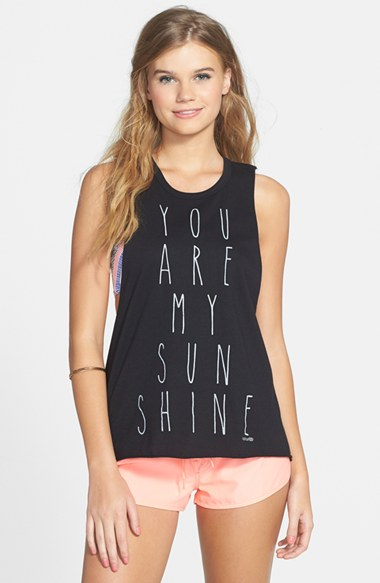 Rip Curl 'You Are My Sunshine' Muscle Tee (Juniors) in Black