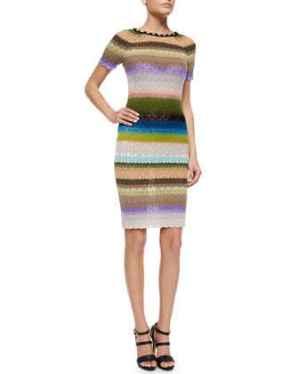 Missoni Pickstitched-Neckline Striped Dress in Blue Multi