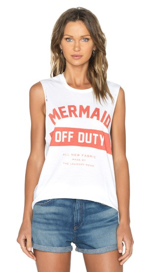 MERMAID OFF DUTY UNIFORM MUSCLE TANK TOP By THE LAUNDRY ROOM in White
