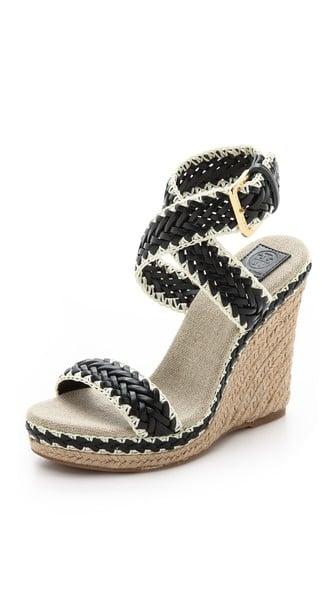 Tory Burch Lilah Wedge Sandals in Black/Natural. Shopbop