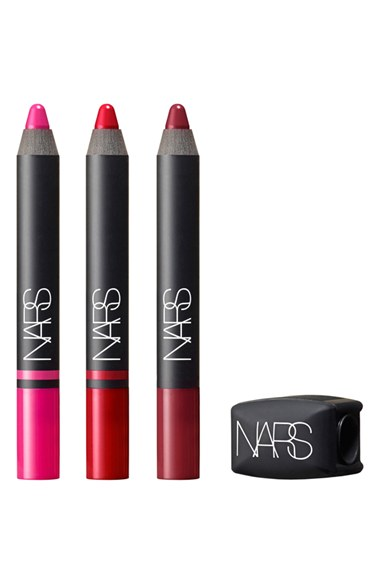 NARS 'True NARS' Lip Pencil Set ($81 Value) Satin Lip Pencil in Yu (Shocking Pink), Luxembourg (Vivid Watermelon) Velvet Matte Lip Pencil in Provocative Red