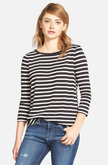 cupcakes and cashmere 'Mendocino' Stripe Top in Black and White
