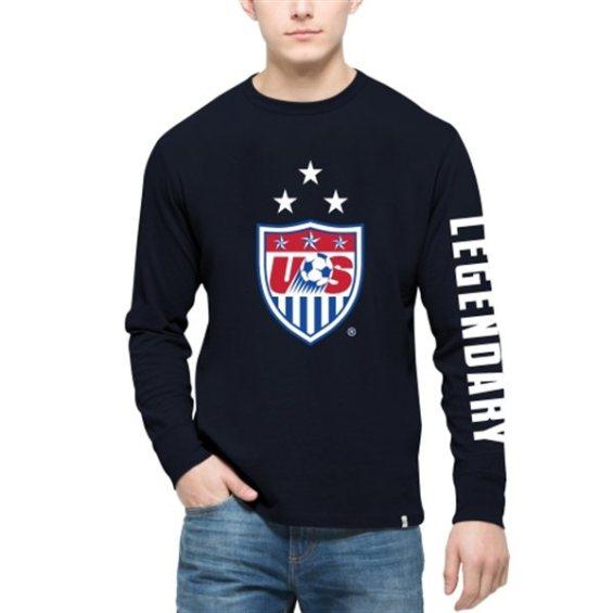 '47 Brand US Soccer Navy 3-Star Crest Legendary Long Sleeve T-Shirt