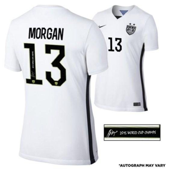 Fanatics Authentic Alex Morgan US Women's Soccer Team 2015 World Champions Autographed White Women's Replica Jersey with 2015 World Champs Inscription U.S. Women's Soccer FIFA World Cup Champions