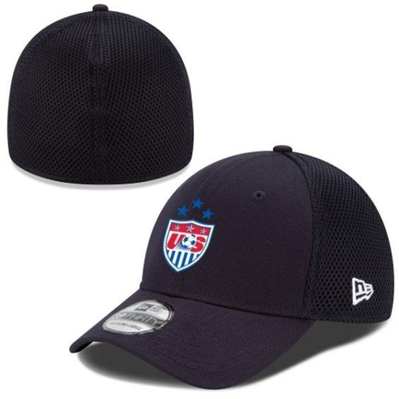 New Era US Women's Soccer Team Navy 2015 Champions 3-Star 39THIRTY Flex Hat