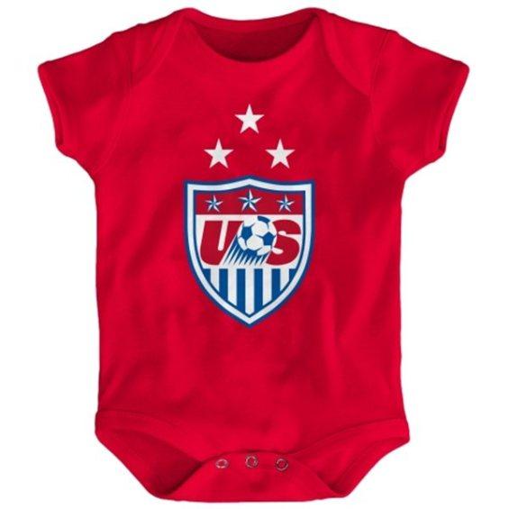 US Soccer Infant Red 3-Star Crest Bodysuit
