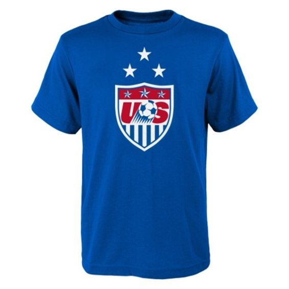 US Soccer Youth Royal 3-Star Crest T-Shirt